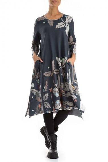 Trikotage kjole i flora print